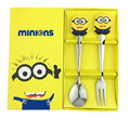 &% Kawaii cartoon character Hello Kitty Minions Tableware Baby Kindergarten Lunch Set Spoon Fork With BOX kids gift Dinnerware