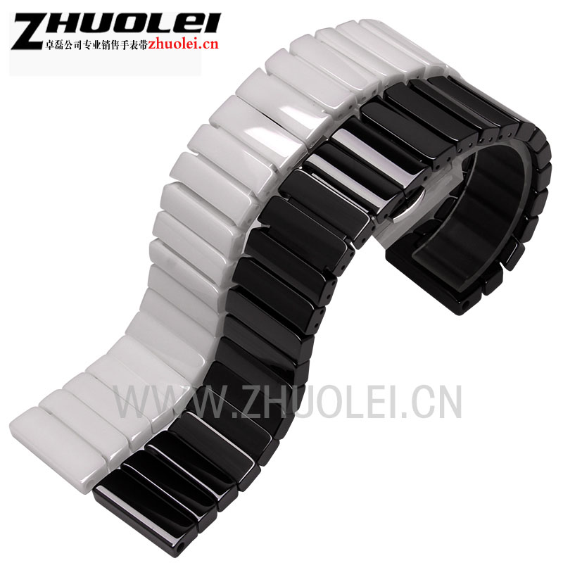 22mm 24mm High quality Silver Depolyment Watch Buckle and black White Ceramics Watchbands Bracelets for AR Wrist watch black ceramic watchbands for special curved end watches men case ar 1452 high quality black buckle fashion watch strap bracelets