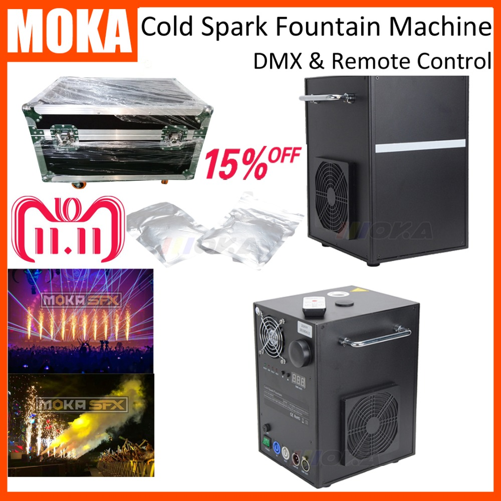 2 Set +4 bags powder Flight case packing spray firework machine cold spark fireworks machine touchable flame machine for wedding цена