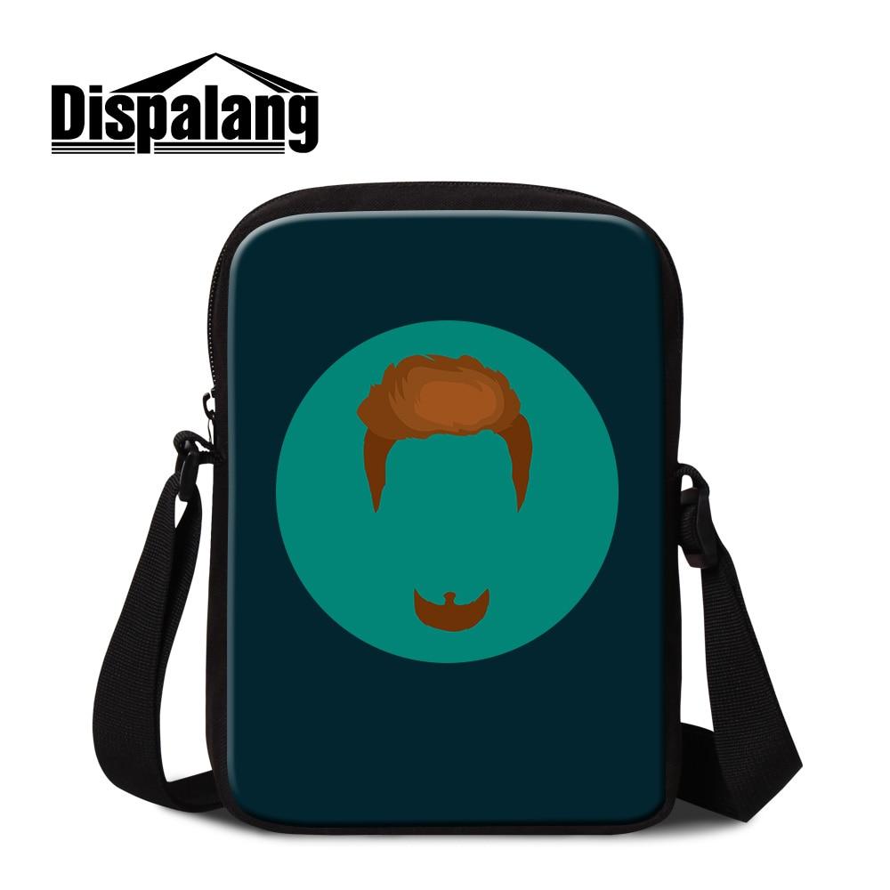 Dispalang Moustache Pattern Small Messenger Bag Men Business Briefcase Teenagers School Satchel Fashion Travel Bags Casual Flap