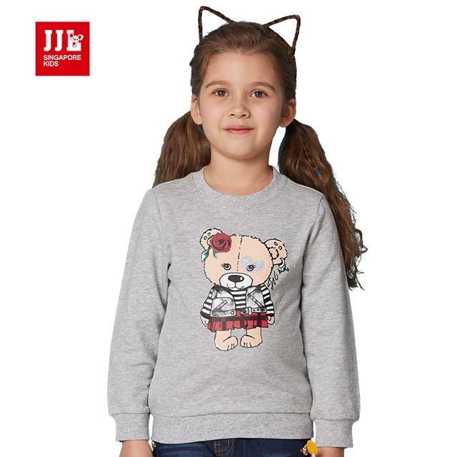 2016 chicas sudaderas con capucha y sweatershirts lindo oso de cartón impreso niños sudaderas y abrigos de primavera ropa de los niños tamaño 4-11
