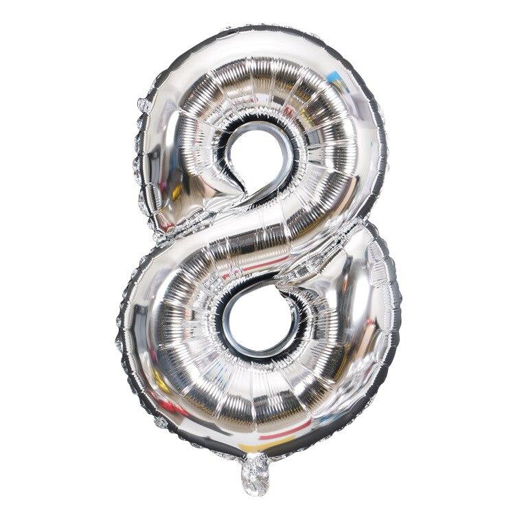 Золотой Серебряный 32 дюйма 0-9 большой гелиевый цифровой воздушный шар фольги Детский праздник день рождения вечеринка для детей мультфильм шляпа игрушки - Цвет: sliver 8