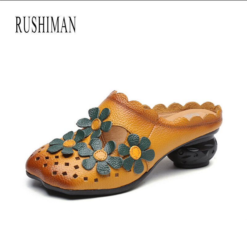 RUSHIMAN Women Flat Cool Slippers Shoes Slides Sandals  2018 Summer Genuine Leather  Slip On Shoes Size 35-40 new summer slipper women slippers slides women sandals slippers word h hollow out women single sandals non slip fashion