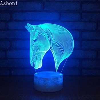 Horse Head 3D Table Lamp Baby Acrylic LED Night Light Touch 7 Color Changing Party Decorative Christmas Gift