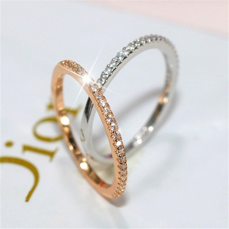 Classic Lady Ring 925 Sterling Silver AAAAA Cubic Zirconia Engagement Wedding Band Rings For Women Bridal Finger Jewelry