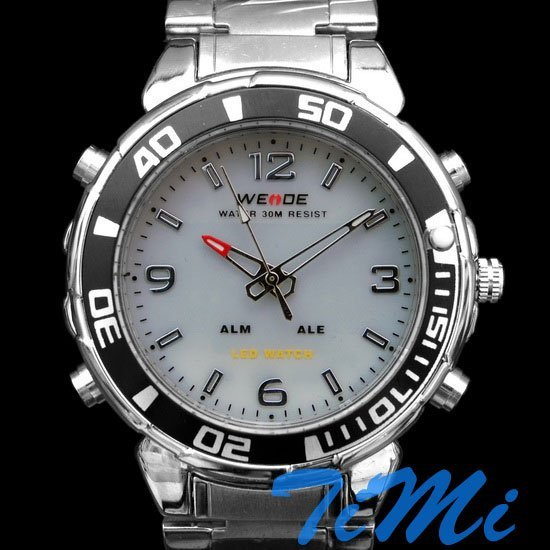 Mergulho Luxury LED Sports Luz Chronograph Mens Watch branco