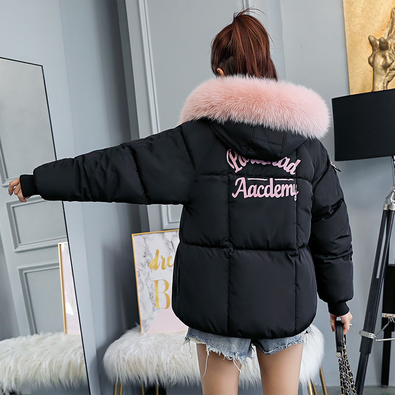 Winter Jacket Women 2019 Fur Collar Loose Female Winter Coat Hooded Thicken   Parka   Cotton Padded Woman Winter Coats and Jackets