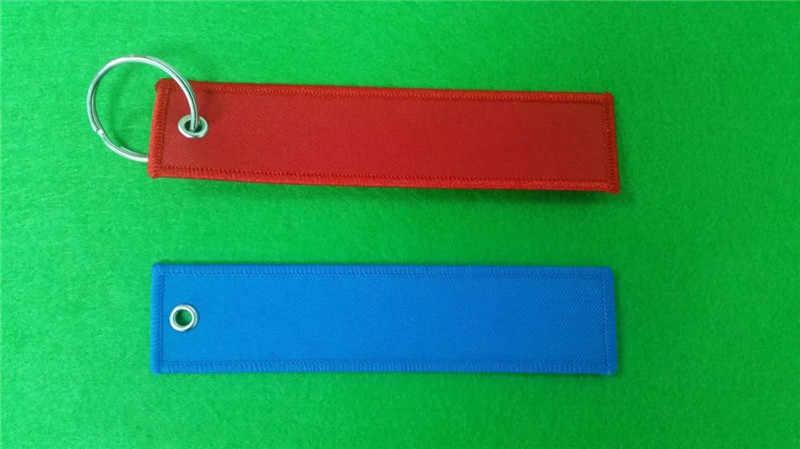 Blanco Custom Kleur Polyester Stof Borduurwerk Sleutelhanger met Merrow Rand voor Geschenken, sport
