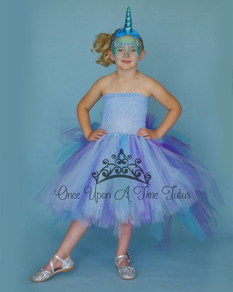 19ac141d44b4 Unicorn Bustle Christmas Tutu Dress Girls Birthday Party Dress Up Costume  Colorful Girl Dress With Long Tail Little Horse Dress-in Girls Costumes  from ...