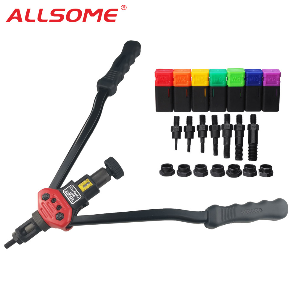 ALLSOME BT-607 16inch Manual Riveter Gun Hand Rivet Tool Kit Rivet Nut Setting Tool Nut Setter M3 M4 M5 M6 M8 M10 M12