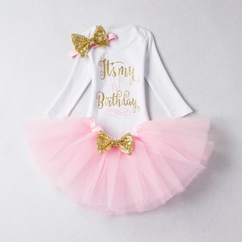 Baby Girl Clothes Brand New Born Baby 1 Year Birthday Outfits Infant Clothing Baby Sets Romper+Headband+Tutu Skirt Baby Suits 1