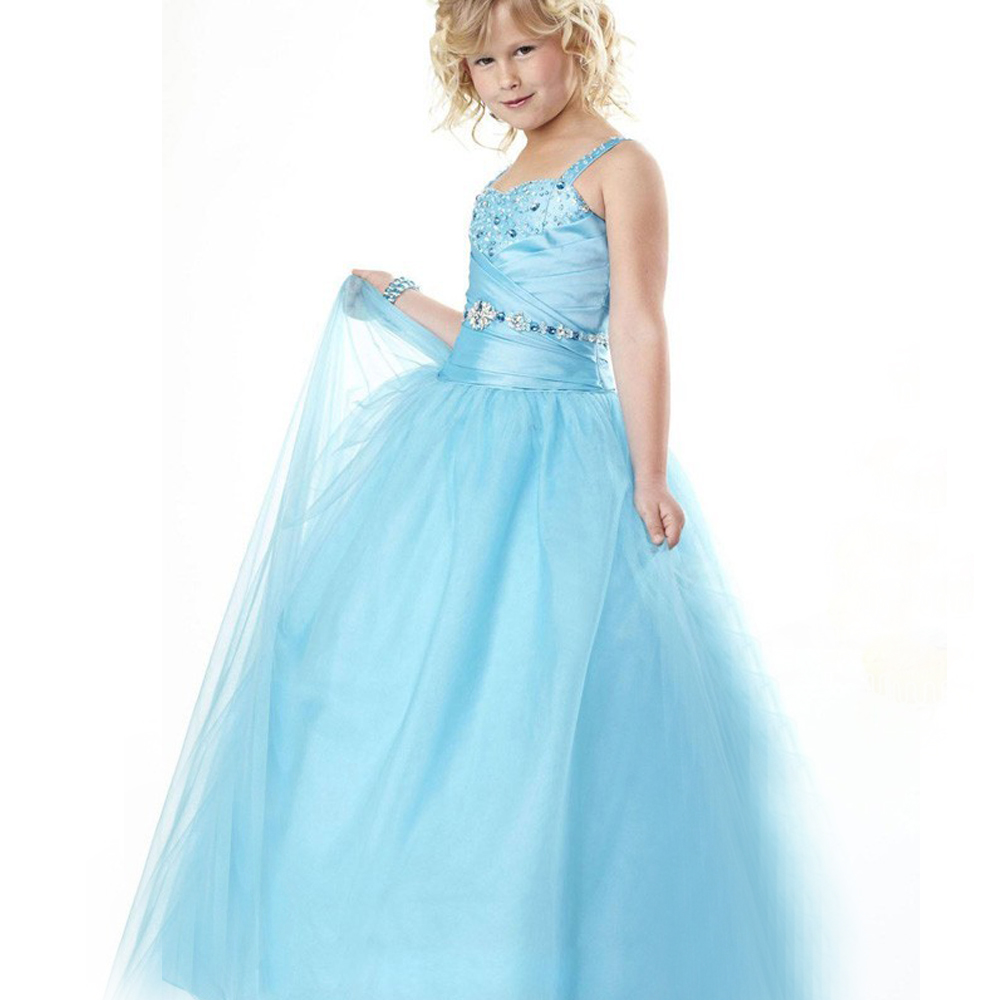 Stunning Flower Girl Dress Spaghetti Strap Draped Square Neck Back Criss-cross Ice Blue Princess Pageant Tulle Ball Gowns Glitz long criss cross open back formal party dress