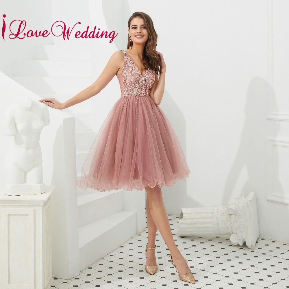 New Arrival 2019 Sexy A Line Short   Cocktail     Dresses   Custom made A Line Pink Tulle Heavy Beaded Knee Length   Cocktail   Party Gown