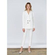 Jacket+Pants White Women Business Suits Blazer Female Office Uniform Ladies Winter Formal Suits Double Breasted 2 Piece Sets