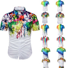 Summer Mens Beach  Top Short Sleeve 3D Rendering Printing Lapel T-Shirt NEW M-3XL HOT