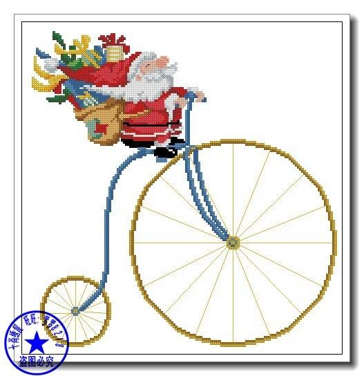 Babbo Natale In Bicicletta.Top Quality Divertente Sveglia Contati Punto Croce Kit Di Natale