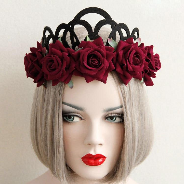 Women Headband Red Rose Flowers Crown Tiara Hair Band Garland ... 8d08824c1f0