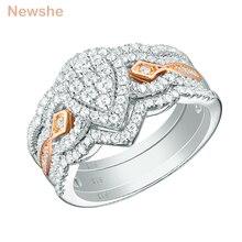 Newshe 3 Pcs 925 แหวนเงินสเตอร์ลิงสำหรับผู้หญิง 1.3 Ct Double Pearรูปร่างขนาดAAA CZชุดแหวนเครื่องประดับอินเทรนด์