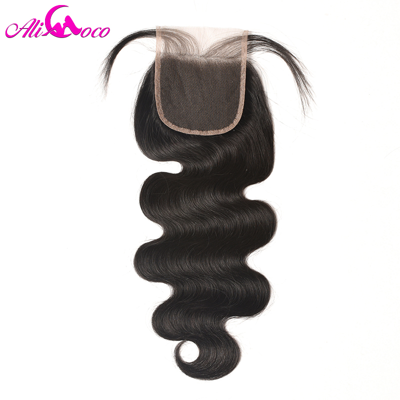 Ali Coco 4x4 Lace Closure with Bundles Indian Body Wave Human Hair 3 Bundles With Free/Middle/Three Part Closure Non remy Hair