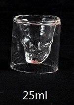 Двухслойная прозрачная Хрустальная стеклянная чайная чашка с черепом 3 размеров для виски, вина, водки, бара, пива, вина - Цвет: 25ml