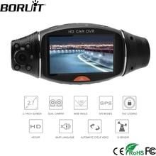 BORUiT R310 английский gps двойной Камера Видеорегистраторы для автомобилей Камера 1080P Full HD 2,7 дюйм(ов) Ночь Версия G-Сенсор автомобиля регистраторы ИК АВТО Регистраторы