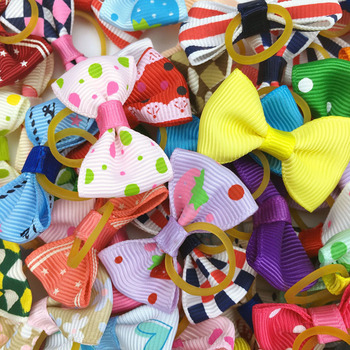 (100 pieces/lot) Cute Ribbon Pet Grooming Accessories Handmade Small Dog Cat Hair Bows With Elastic Rubber Band 121 Colors 1