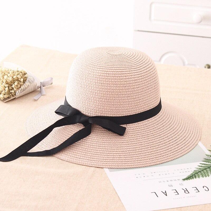 2017 Neue Frühling Sommer Visiere Cap Faltbare Breiter Großer Krempe Sonnenhut Strand Hüte Für Frauen Strohhut Großhandel Chapeau
