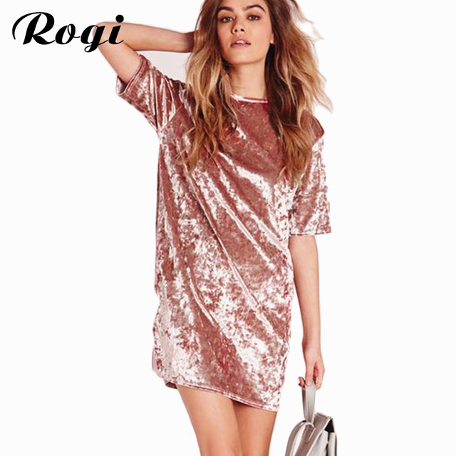Rogi Vestidos De Fiesta 2017 Short Sleeve Velvet Christmas Dress ...
