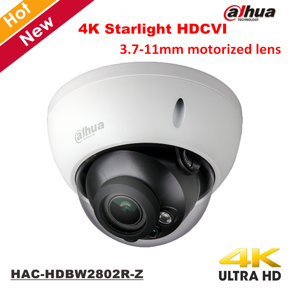 Dahua 4K Starlight HDCVI Camera Smart IR Dome Camera Video Resolution 8MP 3.7-11mm motorized lens HAC-HDBW2802R-Z Security cam ...