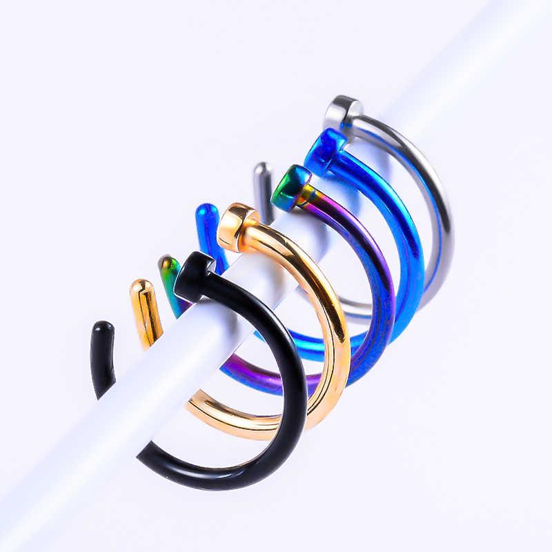 MISANANRYNE ปลอม Septum ไทเทเนียมแหวนจมูกสีทองคลิป Hoop สำหรับผู้หญิง Septum เจาะเครื่องประดับของขวัญ 1pc