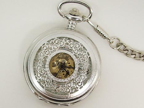 Unique Antique Silver Tone Roman Pocket Watch NR