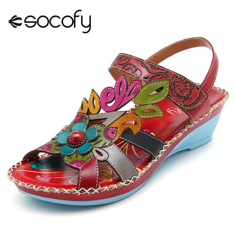 Socofy Genuine Leather Bohemian Sandals Women Shoes Ankle Strap Buckle Wedge Heel Summer Shoes Beach Sandals Sandalias Mujer New bohemian style beading and wedge heel design sandals for women
