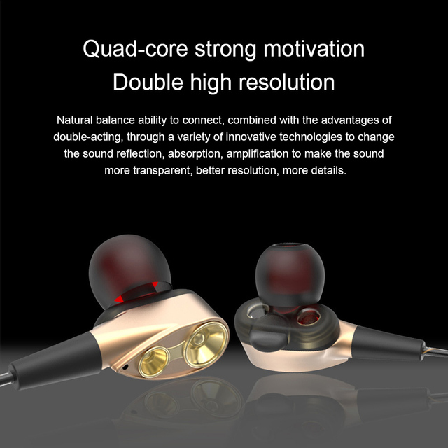 TEBAURRY Double Unit Drive In Ear Earphone Bass Subwoofer Earphone for phone DJ mp3 Sport Earphones Headset Earbud auriculares