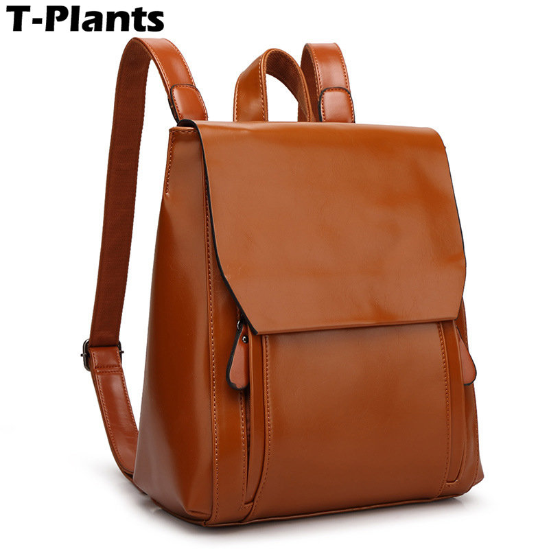 T-Plants 2018 New Women PU Leather Backpack Fashion School Bags For Teenagers Girls 5 Colors Travel Bag Mochila Feminina new 2017 women backpack painting school bags for teenagers girls stylish children bagpack ladies travel bag student kids mochila
