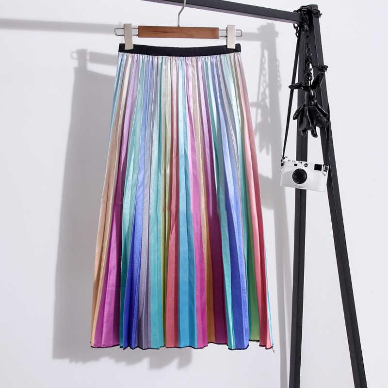 2019 lato jesień spódnice moda damska w paski wysokiej talii plisowana spódnica trzy czwarte w pasie linii spódnica do połowy łydki długie spódnice