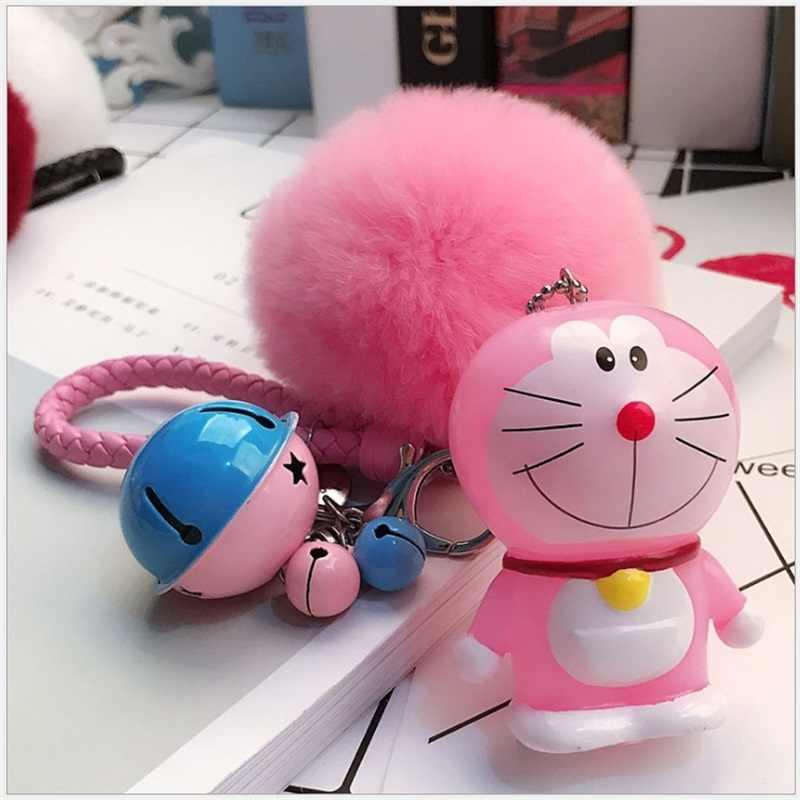 Bonito dos desenhos animados brinquedo de ação figur doraemon gato boneca pequeno pingente sino feminino saco do carro chaveiro criativo presentes dos namorados