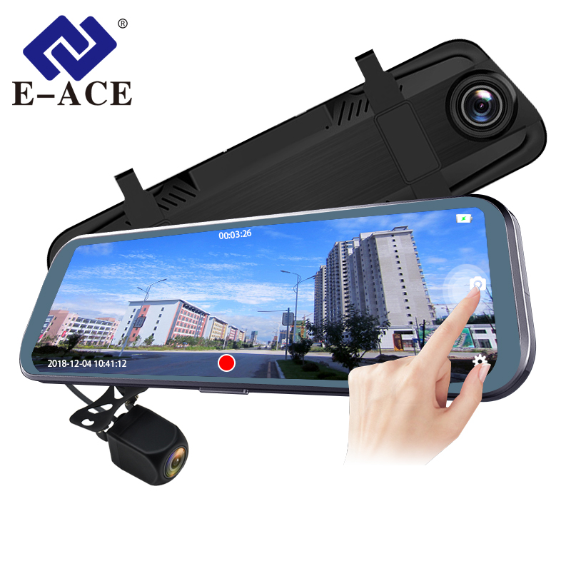 E ACE Car Dvr Dash Camera 10 Inch Touch Streaming Rearview Mirror 1080P Video Recorder Auto