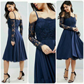 Long Sleeves Cocktail Dresses with Spaghetti strap Lace Robe de cocktail Dark Navy Knee Length Party Gowns Short Formal Dress