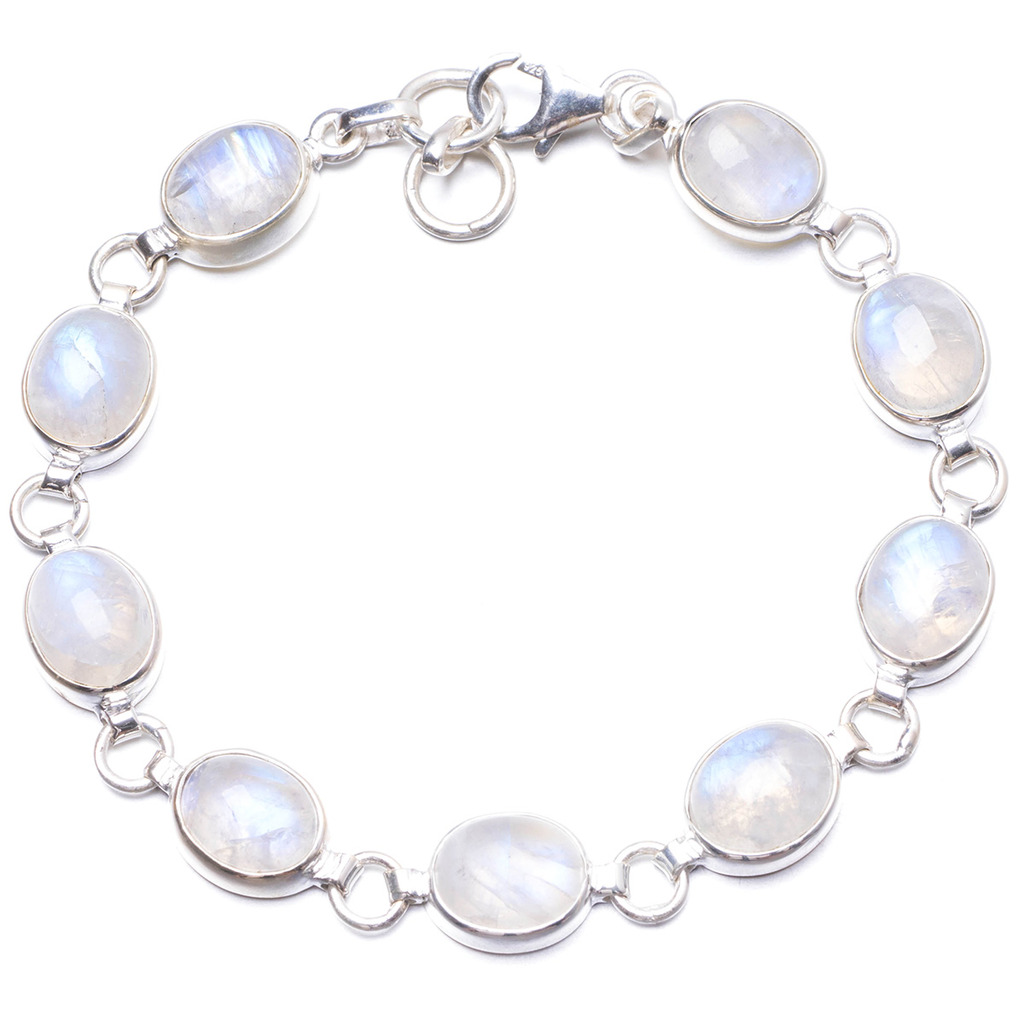 Natural Rainbow Moonstone Handmade Unique 925 Sterling Silver Bracelet 7 1/2-7 3/4