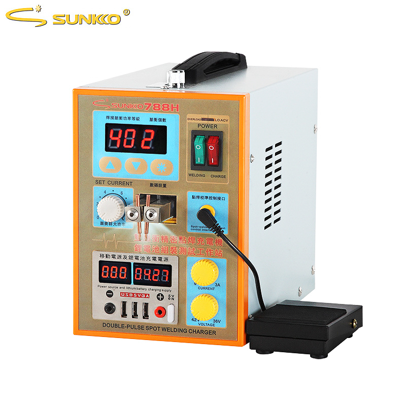 SUNKKO 788H Pulse Spot Welding Machine 1.5kw Spot Welder LED Light Lithium Battery Test USB Charging For 18650 Battery Pack Weld