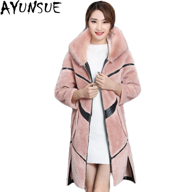 be706fce1 AYUSUE 4 Colors 5 Size Women Winter Artificial Fur Coat Jackets 2018 New  Pink Black Faux Fur Long Thicken Female Overcoat LX945-in Faux Fur from ...
