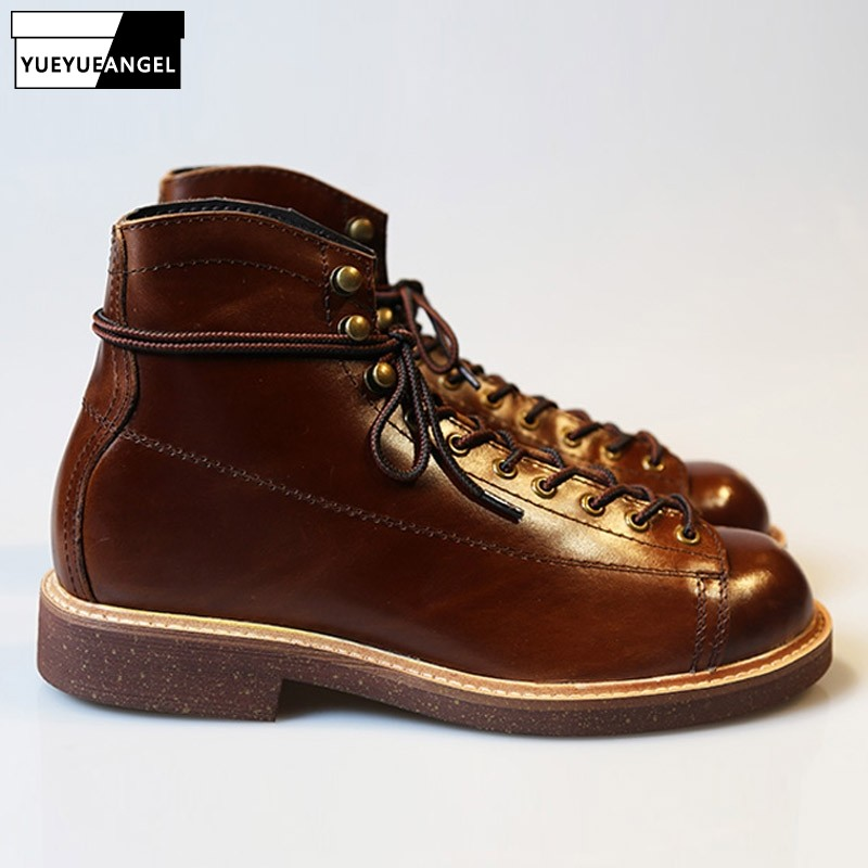 American Retro Genuine Leather Ankle Boots Men Casual Round Toe  Boots Fashion Brand Luxury Motorcycle Boots Shoes Male
