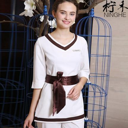 New Design Customize Uniform SPA Beauty Salon Work Clothing Health Club Workwear 2PCS White Uniforms Free Shipping