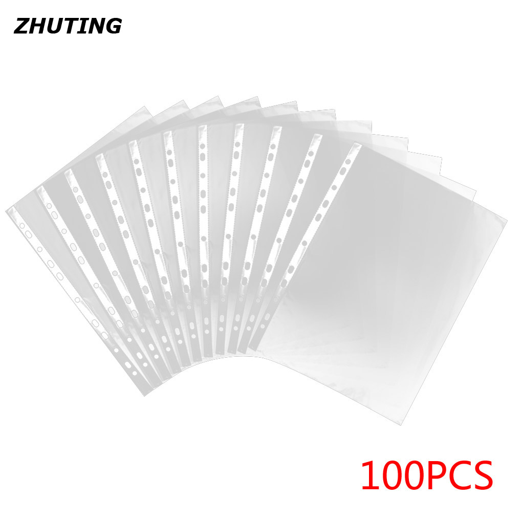 100pcs transparent PVC 11 hole A4 file protective film stationery file protection film