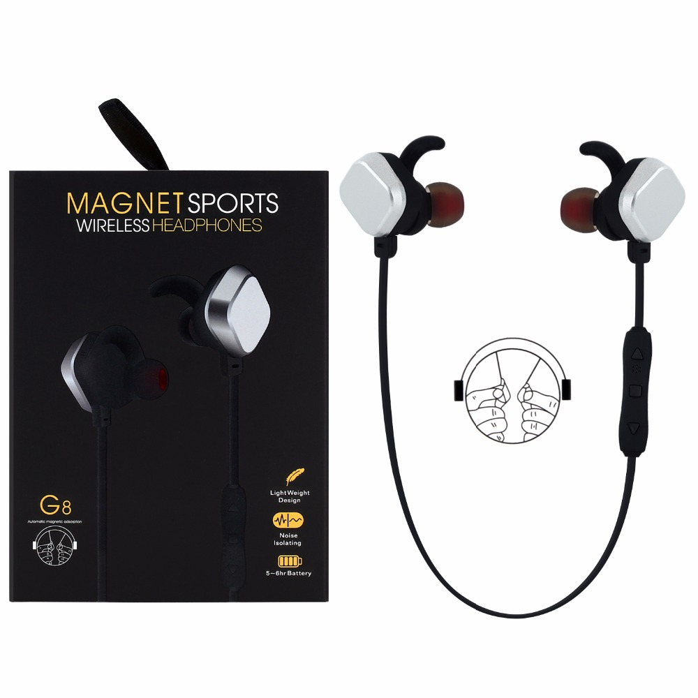 2017 New MINGGE G8 Wireless Bluetooth 4 1 Magnet Sport Headsets Multi connection function with USB