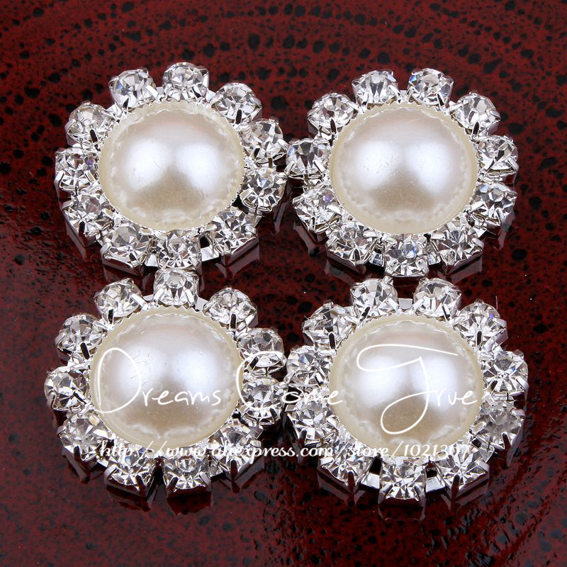 Arts,crafts & Sewing clear Alloy Round Rhinestone Button For Wedding Hospitable 50pcs/lot 20mm 2colors Artificial Cute Half Pearl Buttons For Flower Centre