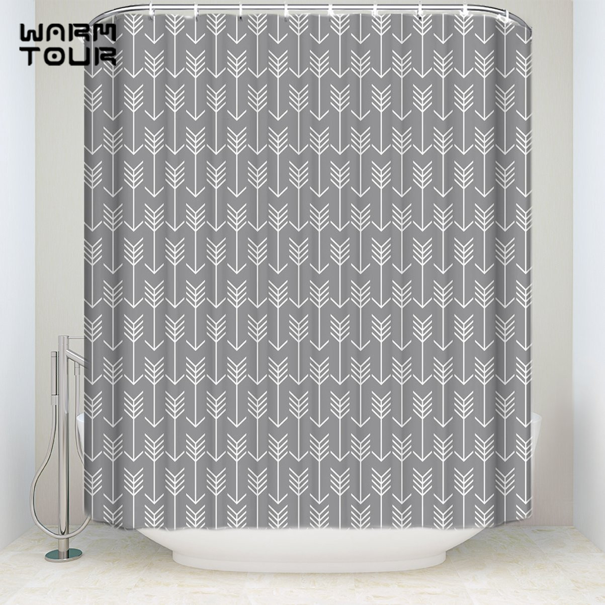 Extra Long Fabric Bath Shower Curtains Geometric Grey Arrows Mildew-resistant Bathroom Decor Sets with Hooks 36 x 78