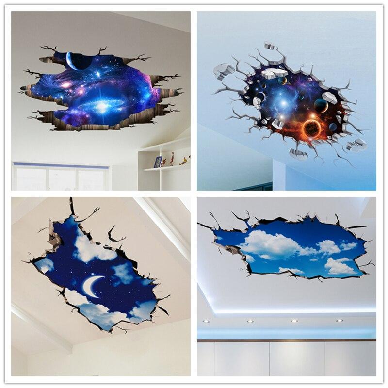 [SHIJUEHEZI] Outer Space 3D Wall Sticker Cosmic Galaxy Stickers Murali per la Camera Dei Bambini Decorazione Pavimentale Cielo Blu Soffitto Adesivi
