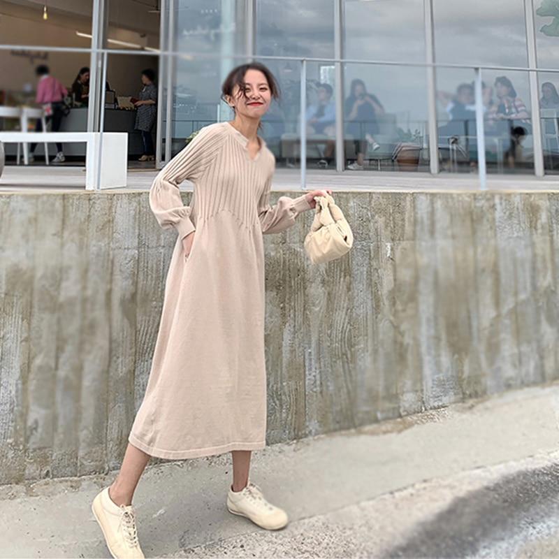Retro french girl  chic knitting v-neck long sleeve basic dress mori girl