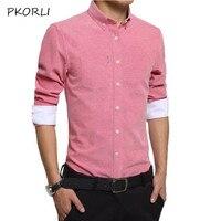 Pkorli Mens Dress Shirt 2017 Brand Long Sleeve Slim Fit Solid Color Social Shirts Men Korean Business Mens Clothes Chemise Homme